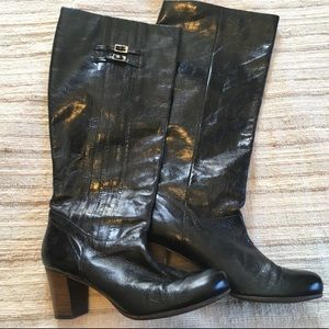 Frye Distressed Nora Pleated Leather Tall Boot